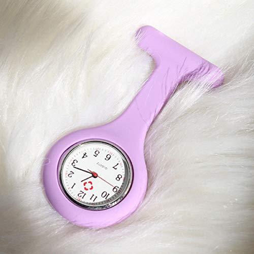 Reloj Prendedor de Broche,Reloj Luminoso de Bolsillo para Enfermera, Reloj de Pecho Impermeable médico de Dibujos Animados-Camel,Reloj Médico de Doctor Enfermera