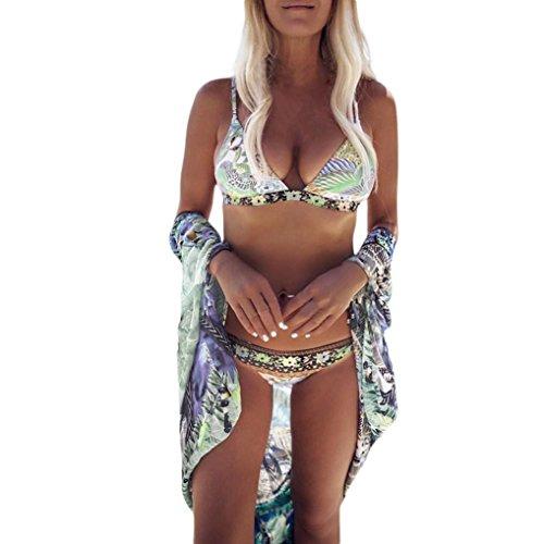 Internet Damen Sexy Bikini Set Push Up Bandeau Neckholder Strand Fluoreszenz Bademode Swimsuit Bandage Tankini Beachwer Hohe Taille Shorts Oberteil Tops und Bottoms Set (Mehrfarbig, S)