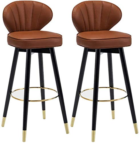 WENLI Adjustable Barstools Modern Comfy PU Leather Barstools Set Of 2, Home Kitchen Counter Bar Stool, 360° Swivel Bar Chairs With Metal Foot Cover pub seat Counter Bar Chairs