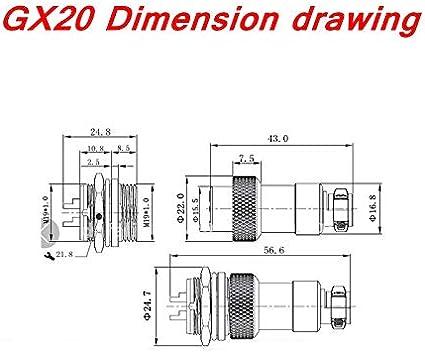 1Set GX20 2//3//4//5//6//7//8//9//10//12//14//15 Pin Male Female Aviation Socket Plug Metal Panel Connector Can Select Plastic Cap Size : 6P NO LOGO FMN-GEARS