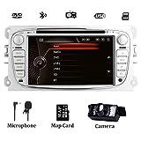 Autoradio stereo a doppia vibrazione per Ford Focus Mondeo Galaxy S-max 7 pollici Sat Nav con lettore DVD Navigazione GPS Touch Screen SWC Bluetooth 1080P Video