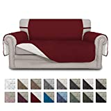 Easy-Going Sofa Slipcover Reversible Loveseat Cover Water Resistant Couch Cover Furniture Protector with Elastic Straps for Pets Kids Children Dog Cat(Loveseat, Christmas Red/Ivory)