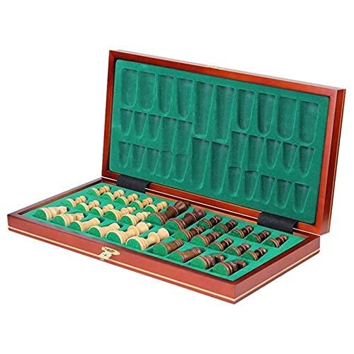 Conjunto de ajedrez clásico Plegable de madera plegable Tablero de ajedrez de madera Piezas de ajedrez de almacenamiento interior Tarjeta de viaje portátil juego Para sala de estar, campo, oficina.