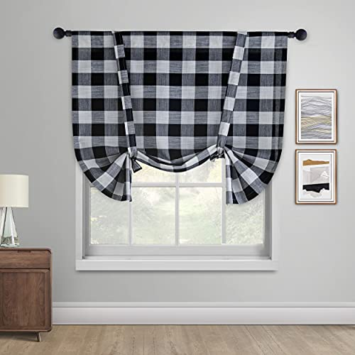 Creativesfun Tie Up Curtain for Kitchen Window Buffalo Check Adjustable Tie Up Shades Plaid Gingham Farmhouse Rod Pocket for Bathroom (42 X 45 -INCH, Black & White)