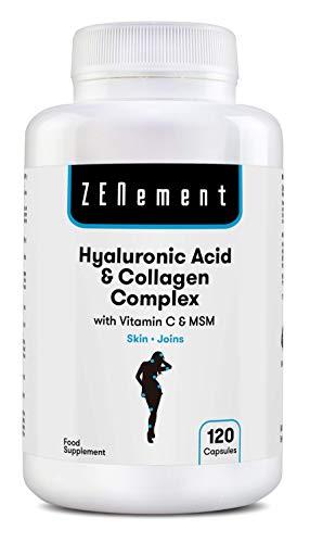 Complex op basis van Hyaluronzuur en Collageen met Vitamine C en MSM, 120 Capsules | om het verouderingsproces tegen te gaan, voor een sterke en gezonde huid en gezonde gewrichten | van Zenement