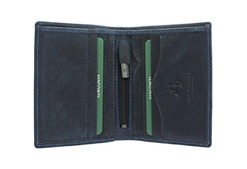 Visconti Cartera Compacta Arrow de Cuero Engrasado 705 Bloqueo RFID Azul Petróleo