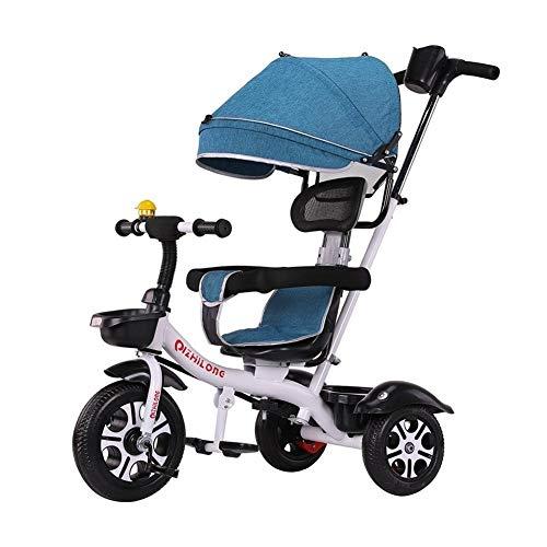 WENJIE Cochecito De Bebé Bicicleta Carretilla con Toldo Asiento Confort Valla De Seguridad Regalo De Cumpleaños del Bebé (Color : Blue)
