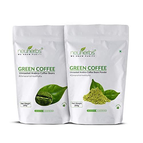 Neuherbs Green Coffee combo: Green Coffee Beans, 200g and Organic Green Coffee Beans Powder, 200g