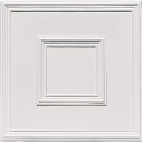 From Plain To Beautiful In Hours 208wm-24x24-25 Town Square PVC 2' x 2'Glue-up or Lay-in Ceiling Tile (Case / 100 sq.ft), Pack of 25, White Matte, 25