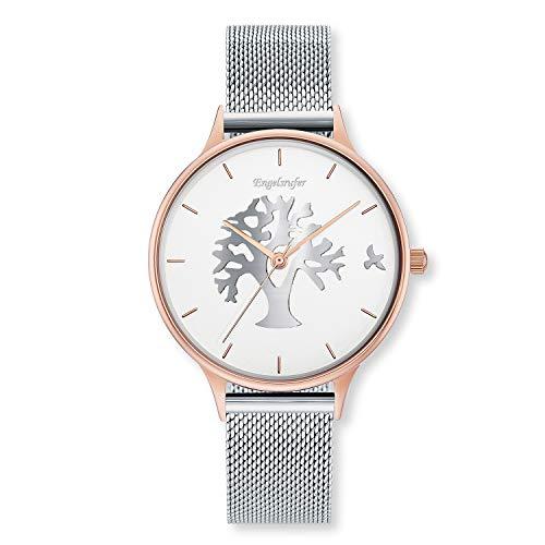 Engelsrufer - Lebensbaum Bicolor Damen Uhr mit Mesh Band, Edelstahl Armbanduhr in den Farben Rosegold & Silber, moderne Damenarmbanduhr, elegante Uhren für Frauen