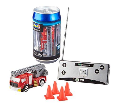 Revell Control 23558 Mini RC Car Feuerwehr aus der Dose mit 40MHz-Fernsteuerung inkl. Ladefunktion, LED-Licht, kurze Ladezeit, lange Fahrzeit 8 kleines ferngesteuertes Auto, Fire Truck, Multicolour