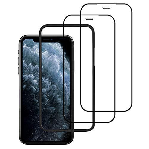 【2枚セット】iPhone11 Pro/iPhoneX/Xs(5.8インチ)用 全面保護フィルム 高硬度9Hガラス 気泡ゼロ 【フルカバー】【ガイド枠付き】【日本製素材旭硝子製】( アイフォン11 Pro/X/Xs用)