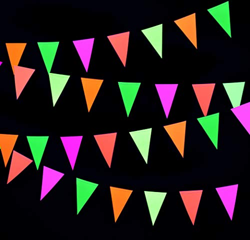 Midnight Glo 78ft Neon Paper Pennant Banner Hanging Decorations for Birthday Party Wedding Decorations Black Light Reactive UV Glow Party (6 Pack)