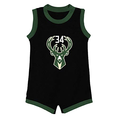 Outerstuff NBA Infants Official Name and Number Home Alternate Road Player Bodysuit Romper Jersey (12 Months, Giannis Antetokounmpo Milwaukee Bucks Black Statement Edition)