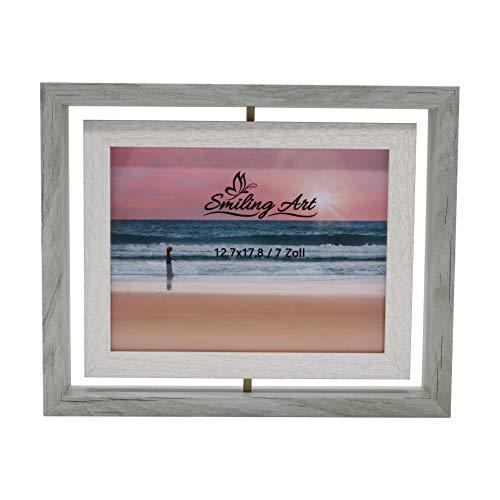 Smiling Art kreativer Bilderrahmen für 2 Fotos aus MDF Holz mit Glas, Doppelrahmen (Drehbar Grau, 13x18 cm)