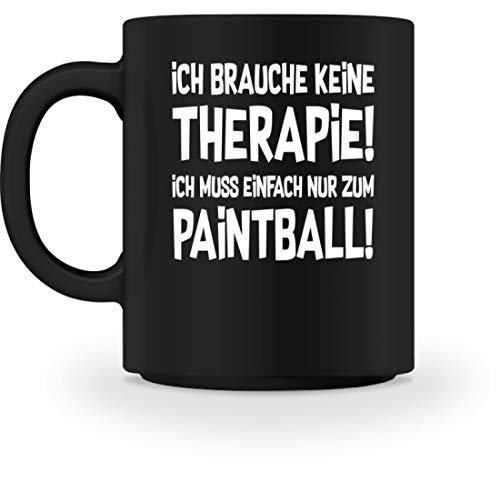 shirt-o-magic Paintball Softair: Therapie? Lieber Paintball! - Tasse -M-Schwarz