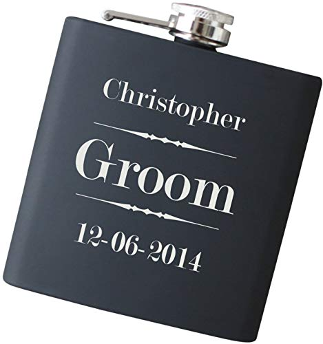 Personalized Flask with ANY Text and Free Engraving - Your Choice of Colors, 6 oz Stainless Steel Flask Home Barware
