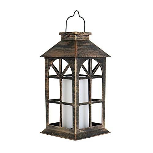 AEUWIER Linternas de metal para interiores y exteriores, funciona con pilas para colgar en el jardín, inalámbricas, impermeables, parpadeantes, sin llama, con asa para patio, jardín, decoración