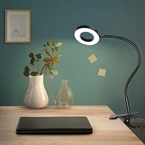 Anpro - Lámpara de escritorio con clip luminoso, 48 LED, 3 modos de iluminación y 10 niveles de luminosidad, pinza de lectura para libros, ideal para estudiar y leer