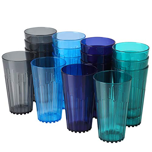 Syntus 16 Pcs Plastic Tumblers, Set of 19 Ounce Break-Resistant Premium Drinking Glasses Restaurant-Quality Beverage Water Cup Sets in 4 Coastal Colors