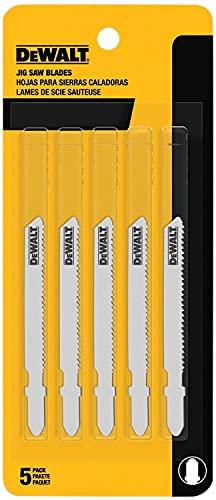 DEWALT - DW3776-5 Jigsaw Blades, Thin Metal Cutting, T-Shank, 3-Inch, 24-TPI, 5-Pack (DW37765)
