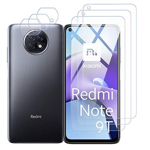 Protector de Pantalla para Xiaomi Redmi Note 9T Cristal Templado Protector de Lente de Cámara para Redmi Note 9T Cámara, [Cobertura máxima][Sin Burbujas] HD Cristal Vidrio Templado