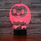 orangeww Pokemon Go Rowlet Figure 3d Veilleuse LED Toucher Capteur Pièce Décoration Décoration...