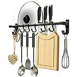 YunNasi Colgador Utensilios Cocina con 6 Gancho Barra Soportes y Organizadores para Utensilios de Cocina, Aluminio, Acabado Mate