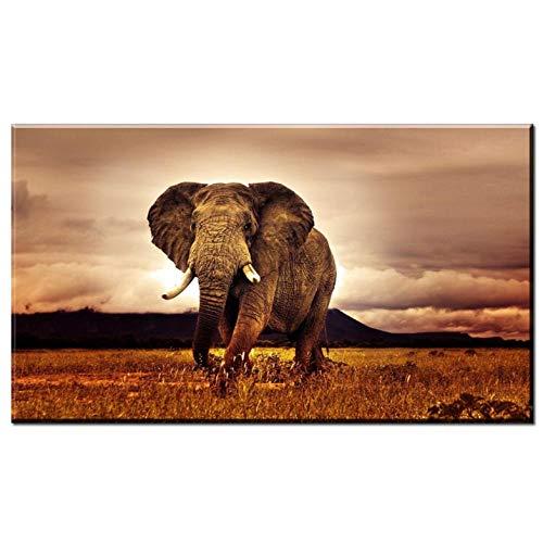 Lcgbw Moderne zwart-wit fotografie kunst Afrikaanse olifanten linnen doek schilderij decoratie geschenk woonkamer muurschildering s afbeelding deco 50x100cm Leinwand + Rahmen