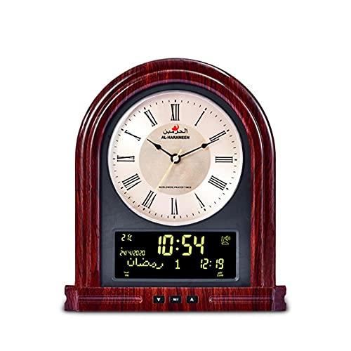 Reloj de mesa musulmán con el tiempo y la pared islámica del color de la alerta de oración islámico y la pared 2 en 1