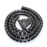 WJUAN 1.5 M Negro Organizador Cables, Organizador de Cables en Espiral, Flexible Funda Organizador Cables, Organizador de Cables Mesa, Recoge Cables para Office y PC Escritorio