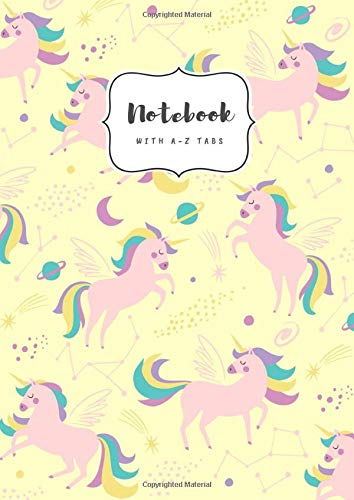 Notebook with A-Z Tabs: A5 Medium Lined Journal | Alphabetical Indexes | Star Zodiac Unicorn Design Yellow