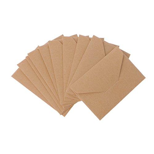 Mentin - 50 Sobres pequeños de papel de estraza para tarjetas de regalo, sobres de tarjeta de visita de boda, sobres clásicos con solapa, color marrón 10.5x6.8cm