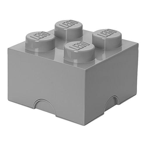 LEGO Aufbewahrungsstein, 4 Noppen, Stapelbare Aufbewahrungsbox, 5,7 l, grau