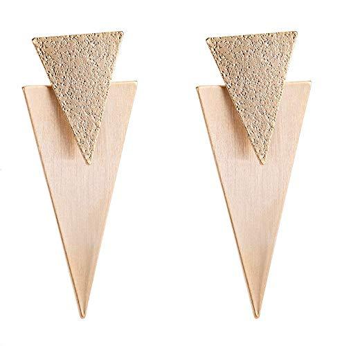 Pendientes colgantes de doble triángulo de metal Pendientes de declaración de acabado cepillado Pendiente de traje bohemio colgante para mujer Chica Bar Fiesta Joyería de moda (Oro 18k)