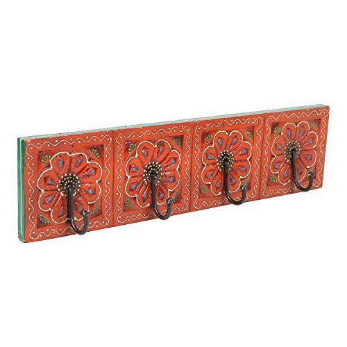 | Perchero oriental Antara Una barra de gancho pintada a mano con 4 ganchos 46 x 6 x 11,5 cm WxDxH de madera maciza | perchero de pared en hermosos diseños florales | MA13 04 A