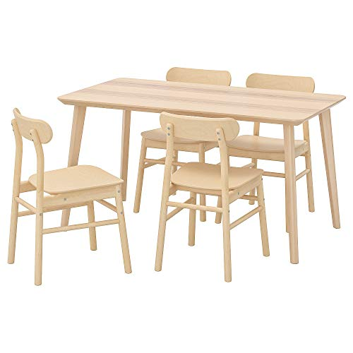 LISABO/RÖNNINGE mesa y 4 sillas 78x140 cm chapa de ceniza/abedul