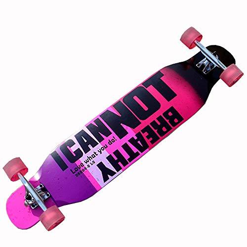 WHOJS Skateboard Einsteigerkreuzer Erwachsenes Skateboard Jugend langes Brett 46 Zoll Ahorn Professionelles Double Kick Skateboard Freie Fahrt mit dem Taxi 【Farb- & Motivauswahl】 (Color : #2)