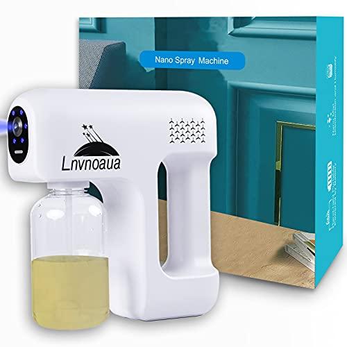 Lnvnoaua Disinfectant Fogger Machine Sanitizer Atomizer Cordless Electric Nano Spray Gun ULV Blue Ray Steam Mist Disinfection Gun for Home/Office/Car/Gym/Salon/School/Hospital/High-Contact Item Etc.…