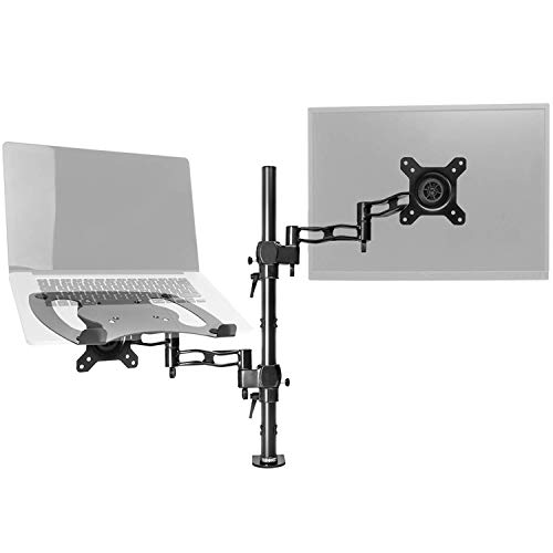"Duronic DM35L1X1 Soporte para Monitor de 13"" a 27"" + Plataforma Suplementaria para Ordenador Portátil o Teclado - Soporte Pantalla PC LED LCD - Soportes y Brazos para Escritorio con 1 Articulación"