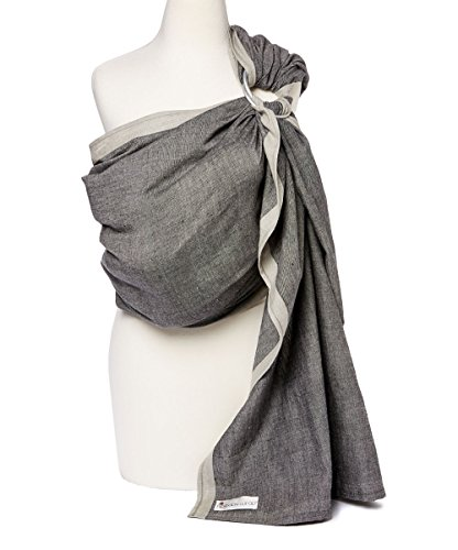 Baby Carrier Ring Sling by Hip Baby Wrap for Newborns, Infants and Toddlers (Midnight) - Beautiful, 100% Cotton - Perfect Baby Show Gift - Great for New mom and dad - Nursing Cover