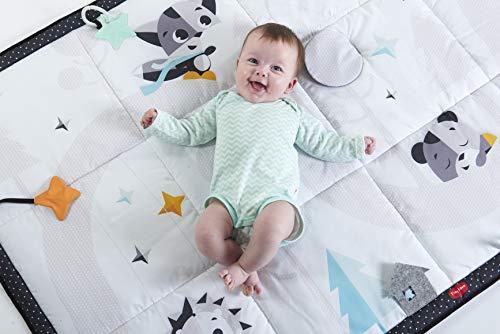 Tiny Love Super Mat Alfombra bebé alcochada, Gimnasio Manta de juegos gigante 100 x 150 cm, Alfombra gateo bebé con 8 actividades para el desarrollo, Blanco y negro, Magical Tales