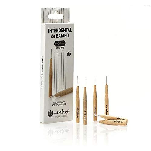 NATURBRUSH Cepillo INTERDENTAL Extra Fino 0,6MM Bambu 6 UDS, Estándar, Único