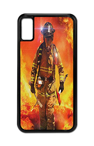 Lunarable Fireman iPhone X Case, Emergency Services Theme, Shockproof TPU Rubber Protective Phone Cover for iPhone X, 6', Multicolor