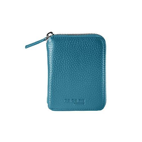 CHI CHI FAN Wallet Compact - Petrol | Kleine Damen Geldbörse aus echtem Leder | Top Qualität und Design treffen auf maximale Funktion und Sicherheit Hosen- oder Jackentasche