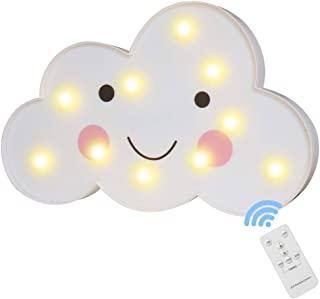 Cloud Night Light with Remote Timmer - Lovely Cloud Marquee Sign Cute Table Wall Lamp for Girls Boys Birthday Gifts Kids Bedroom Bedside Decor (RC Cloud - Smile)