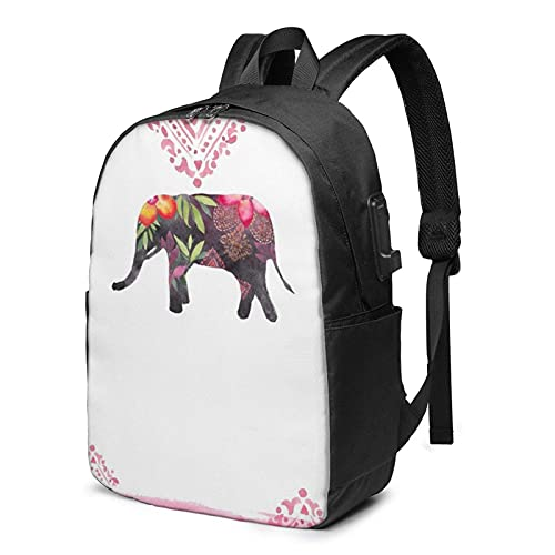 XCNGG Mochila para portátil, Mochila Ligera de Viaje de 17 Pulgadas con Puerto de Carga USB Lucky Elephant