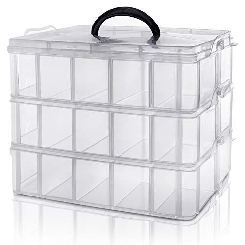 Kurtzy 3-stöckige Aufbewahrungsbox Plastik Transparent Stapelbar - Sortierkasten bis 30 Verstellbare Fächer zur Aufbewahrung von Nähzubehör, Bügelperlen, Schmuck, Kleinteile, Bastelkiste, Spielzeug