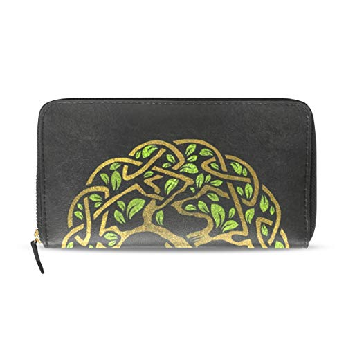 Wallet Long Clutch with Viking Celtic Knot Print - Card Holder Organizer, PU Leather Zipper Purse for Men Women