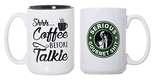 Shhh...Coffee Before Talkie and Goddamn, Jimmy. This Is Some Serious Gourmet Shit 15oz Deluxe Double-Sided Coffee Tea Mugs Set
